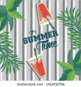 Summer time card and poster with refreshment drinks and tr leaves on wooden background vector illustration