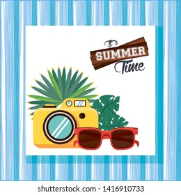 Summer time card with sunglasses camera and tr leaves cartoons vector illustration graphic design