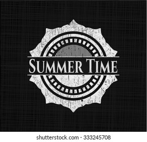 Summer Time chalkboard emblem written on a blackboard