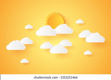 Summer Time, Cloudscape, sky with cloud and sun, paper art style