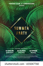 """Summer Time"" club party poster. Trendy Tropic background design.. Eps10 vector."