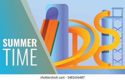 Summer time concept banner. Cartoon illustration of summer time vector concept banner for web design