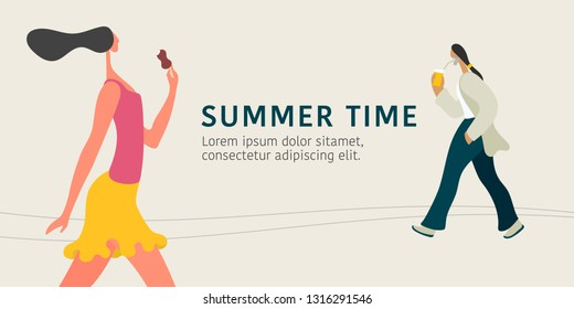 Summer time concept vector illustration. Man and woman walking in the street, eating ice cream and drinking coffee on the go. Modern flat graphic style
