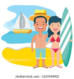 summer time couple with surfboard beach vector illustration