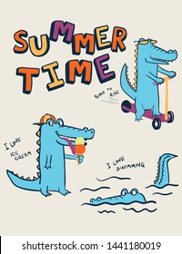 summer time crocodile vector design