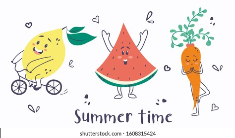 Summer time cute card with lemon, watermelon and carrot vector illustration. Funny cartoon characters having fun together riding bike, smiling and meditating. Isolated on white background