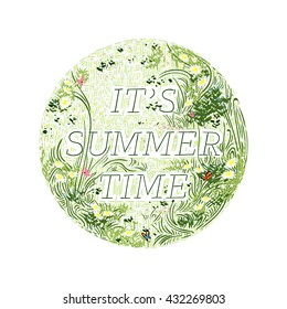 It's summer time decorated badge, hand-drawn vector illustration.
