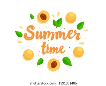 Summer time and summer fruits. Vector composition with fresh apricots. Wreath with apricots and leaves.