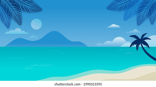 Summer time fun concept design. Creative background of landscape, sunny panorama of sea and beach. Summer sale, post template