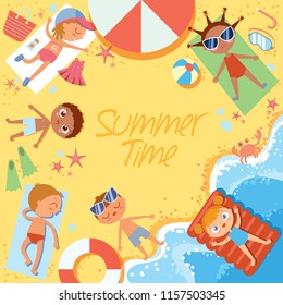 Summer time. Group of children sunbathing on the beach. Top view. Flat style. Template for advertising brochure. Funny cartoon character. Vector illustration