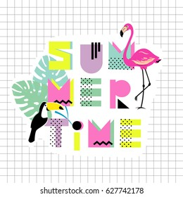 Summer time. Hand drawn font with flamingo, toucan and monstera leaf. Design for shirts, prints, cards, posters. Vector illustration. Summer poster 80s - 90s style