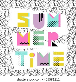 Summer time. Hand drawn original font. Design for shirts, prints, cards, posters. Vector illustration. Summer poster