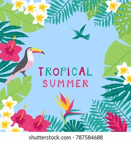 Summer time hand drawn tropic background. Vector illustration