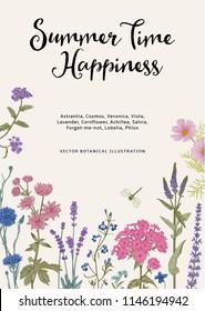Summer time. Happiness. Vector vintage botanical illustration. Pink, violet, blue, purple garden flowers