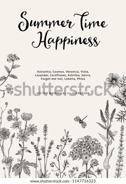 Summer time. Happiness. Vector vintage botanical illustration. Black and white garden flowers