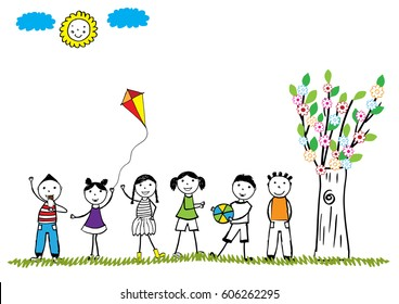 Summer time, happy kids play outside. Hand drawn illustration.