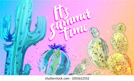 It's summer time. Hello summer. Pink watercolor Cactus Set. Minimal Fashion Style poster. Trendy Bright Colors. Blue Neon Cactus Mood, Surrealism. Sweet Summer fashion Style. Creative Unusual Fun.