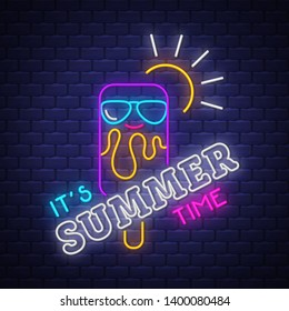 It's summer time. Summer holiday banner. Neon banner. Neon sign. Vector.