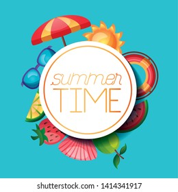 summer time holiday banner umbrella sun sunglasses fruits float vector illustration