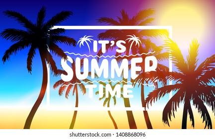 Summer time, holiday cover banner design, elements in sky background. Vector illustration