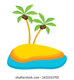 summer time holiday palms sand beach sea vector illustration