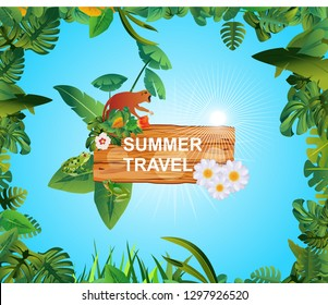 Summer Time Holiday and travel  illustration with monkey on vintage wood background. Tropical floral frame  with blue sky. Design template