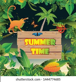 Summer Time Holiday and travel illustration with monkey on night jungle wood background. Tropical floral frame with night sky. Design template