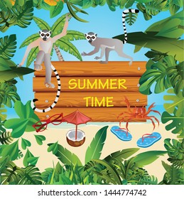 Summer Time Holiday and travel illustration with lemurs on jungle wood background. Tropical floral frame with night sky. Design template