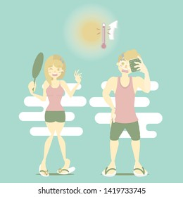 summer time holiday vacation season with man and woman sweating in hot temperature and sun, perspiration concept, flat cartoon character design, vector illustration