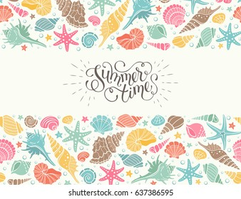 Summer time horizontal banner. Hand drawn sea shells and stars collection. Marine illustration of ocean shellfish. Colorful seashells arranged in stripe isolated on white background.