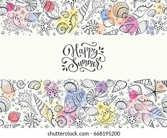 Summer time horizontal banner. Hand drawn sea shells and stars collection. Marine illustration of ocean shellfish. Seashells arranged in stripe  with colorful watercolor spots isolated on white.
