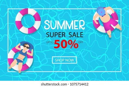 summer time hot sale advertising background design with pool blue water and people playing ball. can be use for poster, background template. vector illustration