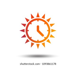 Summer time icon. Sunny day sign. Daylight saving time symbol. Blurred gradient design element. Vivid graphic flat icon. Vector