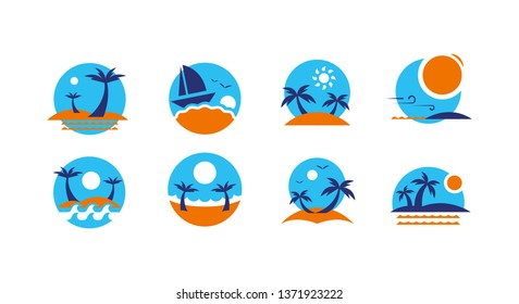 Summer time icons vector banner design. colorful beach elements. Vector illustration. - Vector