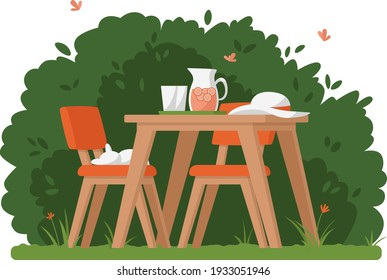 Summer time Idyllic seating in the garden with lemonade and sleeping cat. Home garden and cute exterior design. Vector flat illustration.