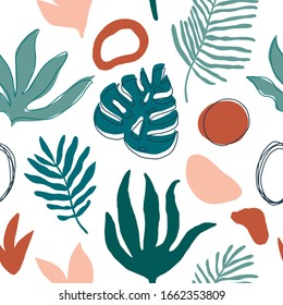 Summer time illustration. Exotic jungle  plants illustration in vector. Seamless tropical pattern with jungle leaves and palm fronds.