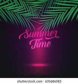 Summer Time illustration with palms and smooth glowing light. Card for summer party, camp, sale etc.