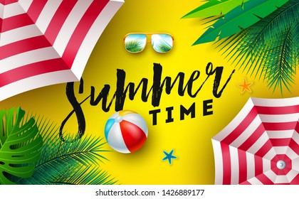Summer Time Illustration with Sunshade, Beach Ball and Sunglasses on Sun Yellow Background. Vector Tropical Holiday Design with Exotic Palm Leaves and Typography Letter for Banner, Flyer, Invitation