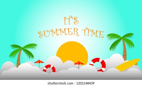 summer time illustration vector banner with beach scene in blue white background gradient