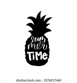 Summer time inscription. Vector hand lettered phrase in a pineapple shape.