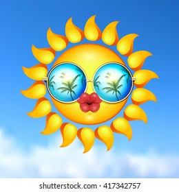 It Is Summer time kissing illustration. Sun Face with sunglasses and full lips on blue sky background. Vector Illustration. Lady sun.