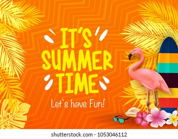 It's Summer Time Let's Have Fun with Flamingo, Surfboard, Flowers, Palm Leaves in Orange Background with Pattern Poster Vector Illustration.