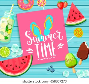 Summer time  lettering  card on blue wooden background with flip flops, watermelon, detox, ice, donut, ice cream, lime and candy. Vector Illustration.
