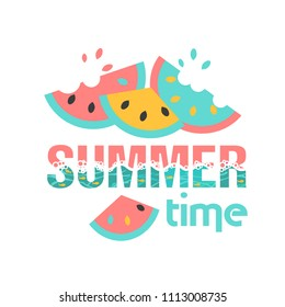 Summer time. Logo or summer slogan. Watermelons and the sea in popular colors. Flyer, postcard, poster or drawing for a fabric
