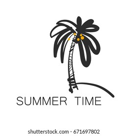 Summer time logo vector with palm.