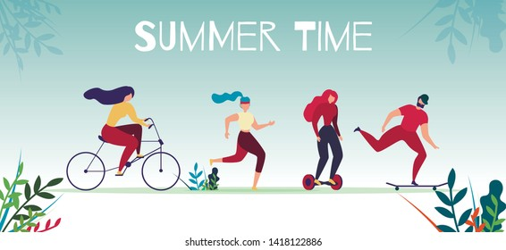 Summer Time Motivational Sports Banner. Active Male and Female Characters Cycling, Jogging, Riding Gyroscooter and Skateboard. Man and Woman Outdoors Recreation. Vector Flat Cartoon Illustration