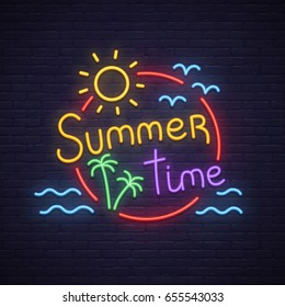 Summer Time neon sign. Neon sign, bright signboard, light banner.
