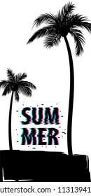 Summer time palm tree banner poster. Tropical monochrome colored advertise. Travel sale invitation. Vertical vector illustration background. Glitch effect. Simple silhouette.