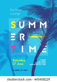 Summer time party poster design template with palms trees silhouettes. Modern style. Vector illustration