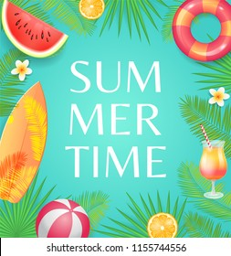 Summer time party theme banner, vector placard. Surfboard and beach ball, inflatable ring and cocktail in glass with straw, fruit slice on palm leaves